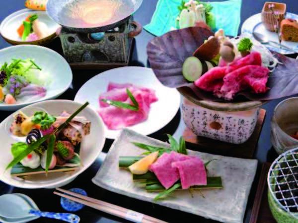 【夕食】 飛騨牛を使った料理が3品も付く贅沢な会席/例