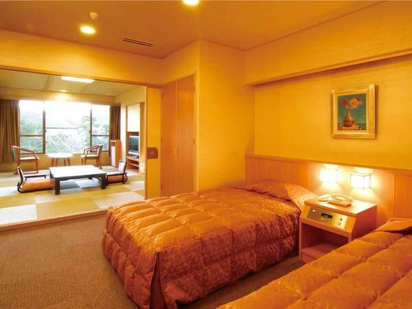 【新館和洋室※禁煙/例】和室10畳+2ベッドの広めの客室にご案内