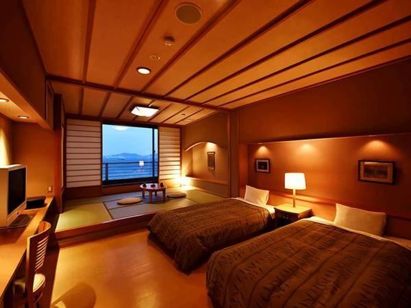【扇栄】和洋室(ツインベット+和室6畳)/一例 3名様以上の場合は和室側にお布団をご用意いたします