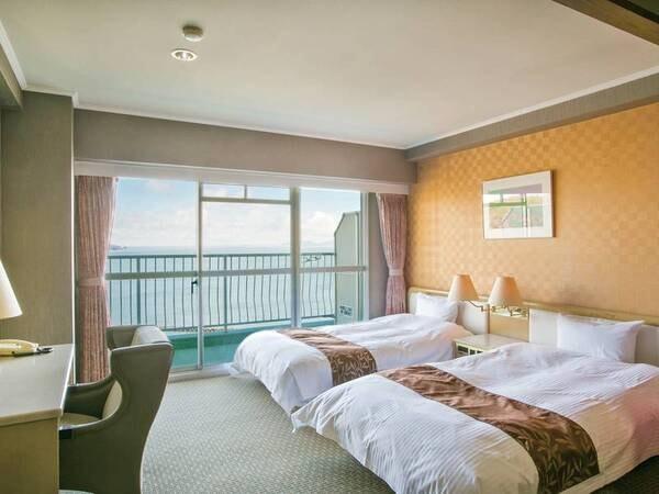 【客室/例】海眺望のツインベッド+6畳のゆったりとした38平米客室
