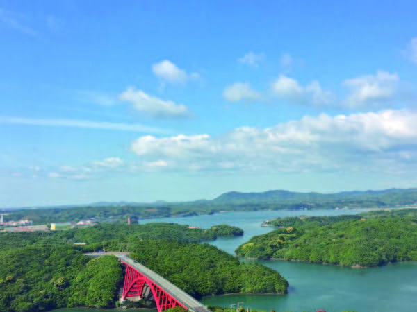 【眺望/例】的矢湾や伊勢志摩国立公園を望む