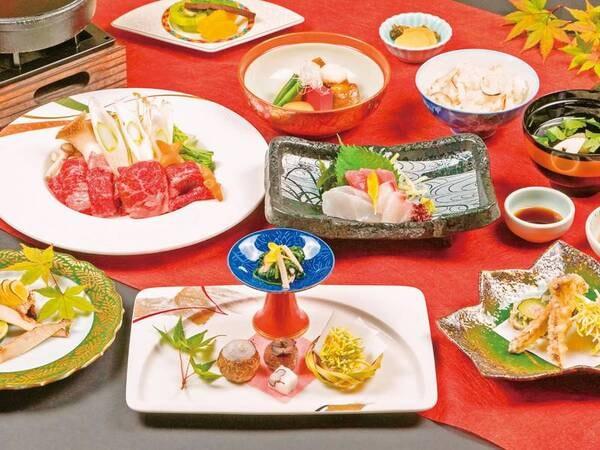 【松茸5品付!秋の味覚会席/例】焼き松茸をはじめ松茸料理5品に、伊賀牛すき焼きが付く期間限定の贅沢会席