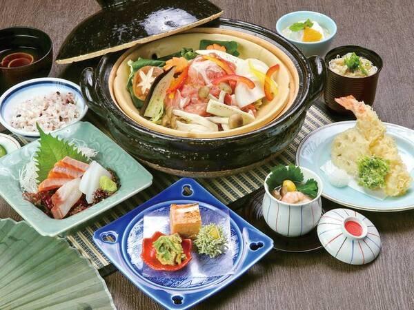 【くノ一会席/例】伊賀焼の鍋で味わう、お品数・量ともに控えめの和洋創作会席