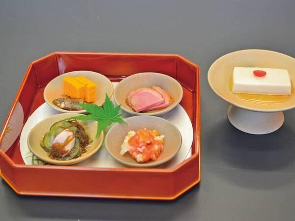 【万葉大和牛会席/前菜一例】当宿ならでは「古代食万葉文化の味物料理」が味わえる前菜(内容は日によって異なります)