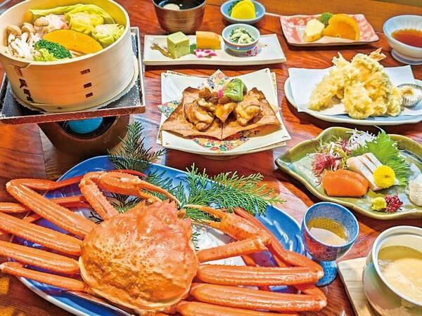 【三井別館】蟹1枚付の和会席が6千円代からの大特価★美肌の塩湯と日本海の幸をリーズナブルに楽しむ!