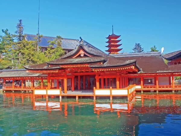 【厳島神社】ホテル前の桟橋から高速船で約26分で宮島へ!※有料・チケットを現地にて購入