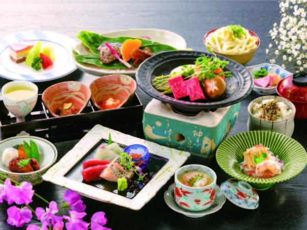 【彩り会席/例】お造り(鯛・鮪)、牛陶板焼き、蒸し物、酢の物など全10品
