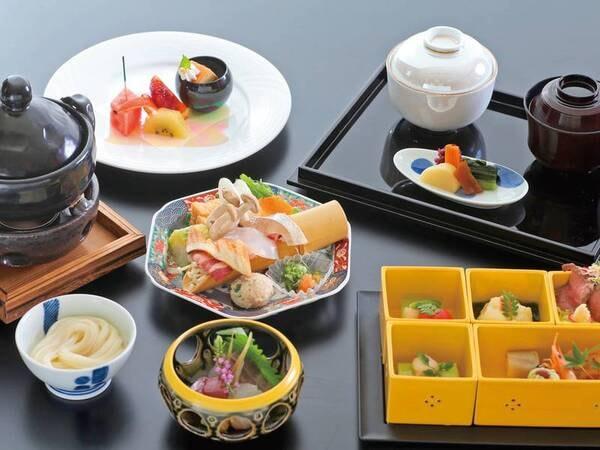 【四季の花樹海会席/例】密回避のための特別料理。器を変えお料理は3度に分けてご提供させていただきます