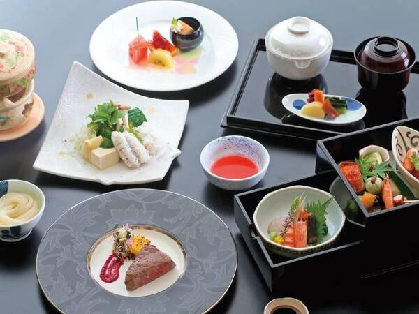 【竹時雨厳選会席/例】密回避のための特別料理。器を変えお料理は3度に分けてご提供させていただきます