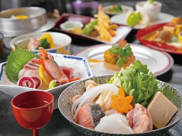 【料理長おまかせ会席/例】料理長がその日一番美味しい旬の食材を厳選して腕をふるう料理の数々