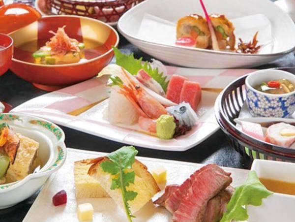 【九州産和牛会席/例】口の中でとろけて霜降りの旨味が溢れだす『九州産和牛ステーキ』や、身を噛みしめるほど美味しさが広がる『旬魚の造り』など全12品を堪能できる。