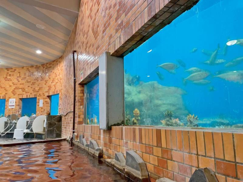 【水族館大浴場 竜宮】浴槽の周りを魚たちが泳ぐ、まるで水族館のような大浴場