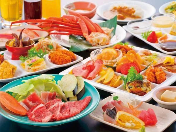【夕食イメージ】蟹浜茹で、お造り、握り寿司等約50種バイキング&飲み放題!