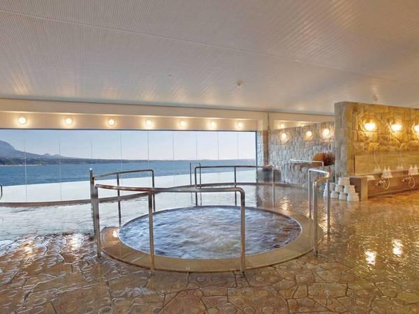 【大浴場】真砂・白洲の湯。循環加温式で加水無しの温泉は湯上りぽかぽか