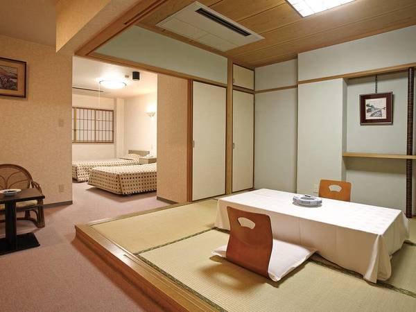 【本館和洋室】和室6畳とベッド2つの、広さも充分な和洋折衷を取り入れた人気客室。