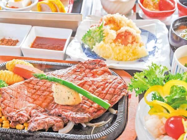 【ダイナミックあか牛ステーキ/例】阿蘇に来たら絶対に味わってほしい逸品「阿蘇のあか牛」!独自仕入れにて希少な阿蘇産に限定した大きさ・肉質のいい「あか牛」をなんと300g超えのステーキでご提供