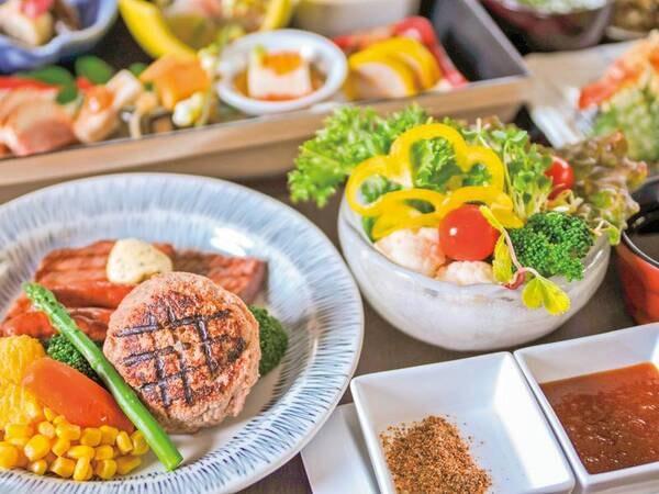 【夕食/例】熊本阿蘇に来たなら絶対に!味わってほしい逸品「あか牛」尽くし!肉質のいい「あか牛」のステーキに、肉汁溢れるハンバーグ、あか牛をたっぷり詰め込んだウィンナーの人気3兄弟(コンボ)をお届け。