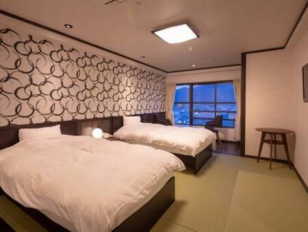 <【2番館長崎屋】 洋室>和テイストを含んだ寝心地を重視したツインベットのお部屋