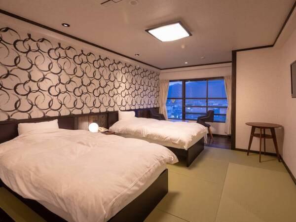 <【2番館長崎屋】 洋室>和テイストを含んだ寝心地を重視したツインベットのお部屋(例)
