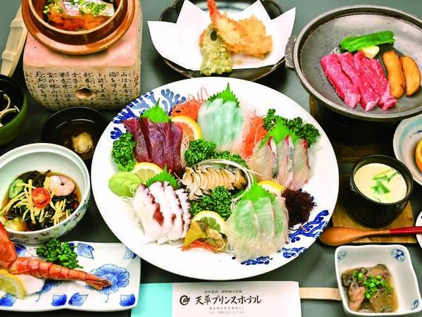 【夕食】あわび(2名で1個)などお造り1組様大皿盛、天草和牛陶板焼き等/例