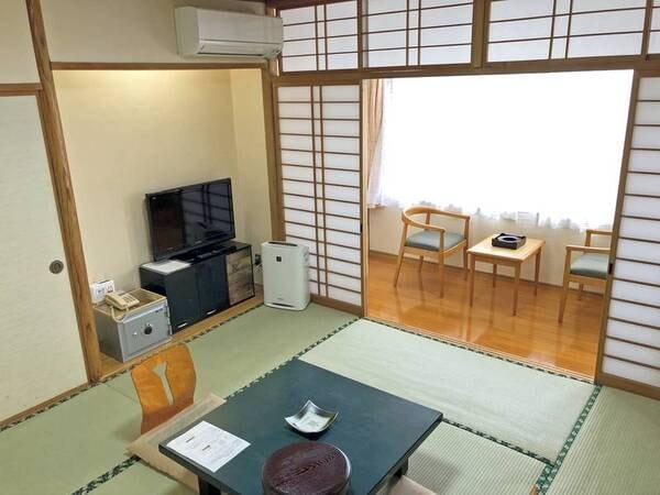 和室8畳。客室風呂は温泉/例