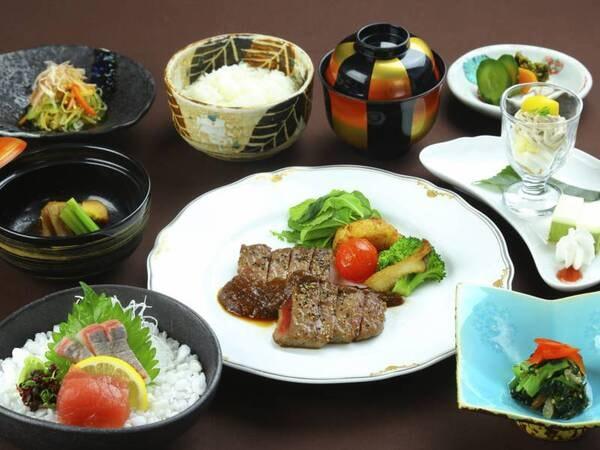 【夕食】お肉かお魚からメインが選べる!/写真はお肉メイン例