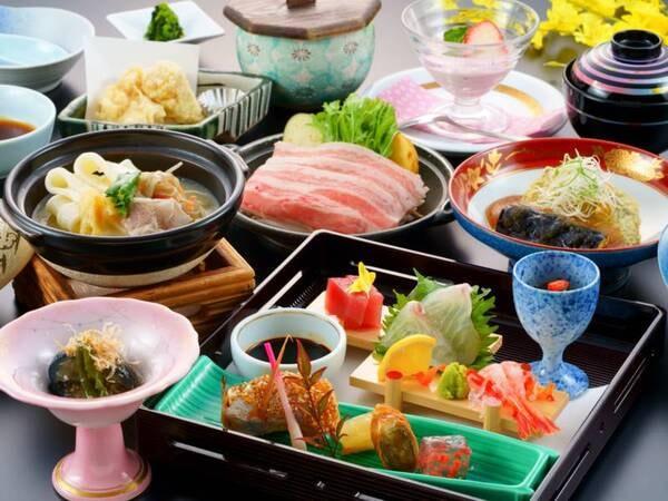 ◆豊後牛陶板焼き ◆鯛の荒炊き ◆お造り(鯛・鮪・甘海老) ◆魚の変わり焼き ◆カレイの煮卸し ◆団子汁 ◆鶏天 等を楽しめる!(写真は一例)