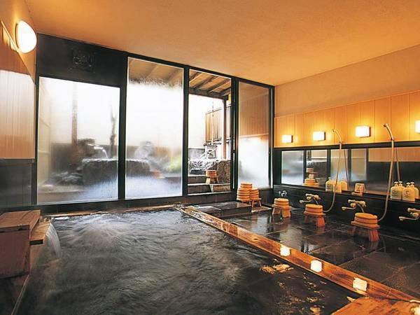 【大浴場】檜と御影石の大浴場