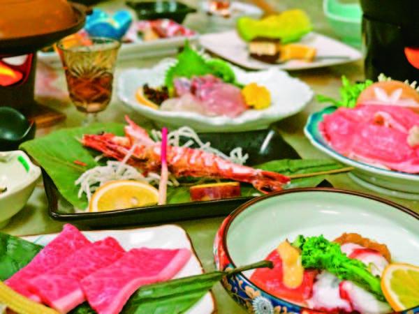 【夕食/例】黒毛和牛の陶板焼き、天然海老の塩焼き、旬魚お造り、旬鍋など