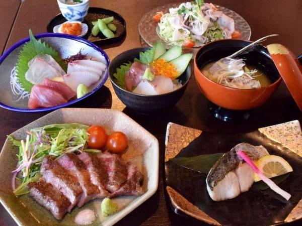宮崎牛ステーキ&海鮮御膳/一例