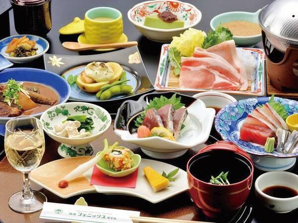 薩摩まるかじり会席/例 豚しゃぶや新鮮お造り、鰹たたきなど鹿児島食材をふんだんに使用したおすすめ会席