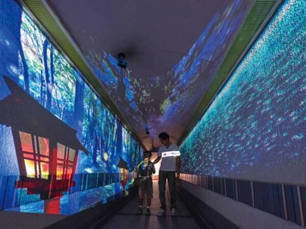 【プロジェクションマッピング/例】大浴場までの廊下に映像と音楽で幻想的な空間を