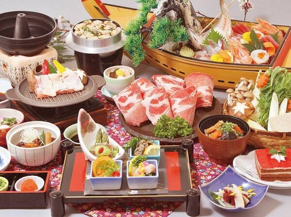 【うまいもん会席/3~6月の例】黒豚しゃぶしゃぶ・地場産旬魚の大漁船盛りなど贅沢な会席。