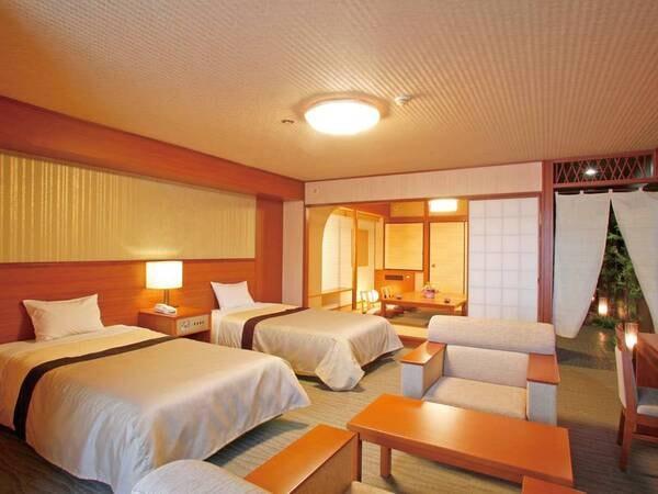 【DX和洋室/例】7階からは霧島の自然を望む眺望を。54㎡の広さで、趣ある和洋室。