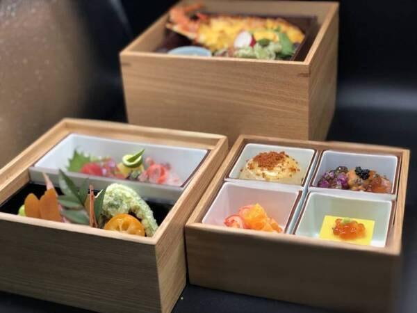 【宝箱会席/一例】部屋食プラン新登場!密対策のため、箱膳形式でお部屋にお届けします。