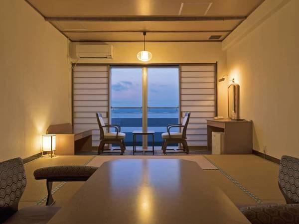 和室(海側・10畳)/例 波のせせらぎが聞こえるお部屋 夜は波の音で癒されぐっすり、朝は太陽の光が差し込み自然の目覚め