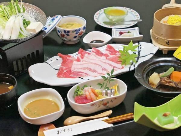 薩摩豚会席/例 御造り3種や薩摩豚しゃぶしゃぶ、黒豚の豚骨煮、釜飯せいろ蒸しなど