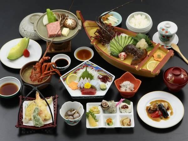 【伊勢海老&黒豚&黒牛の陶板焼き/一例】