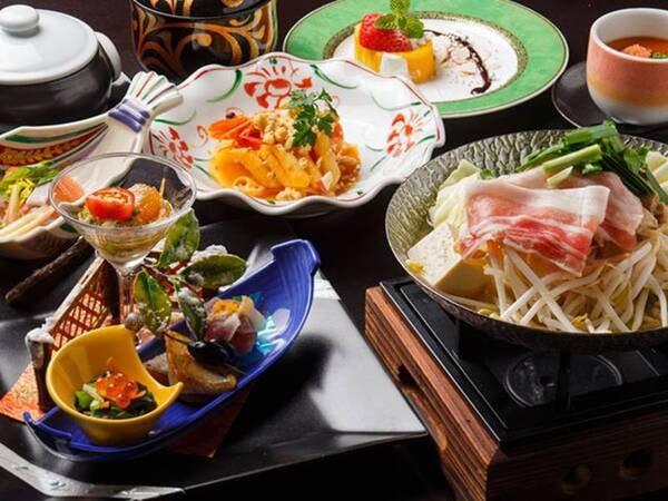 <季節の会席料理/一例>予約時にお選びください ※写真は一例 仕入れや季節等により、メニューの一部や食器等が変わることがあります
