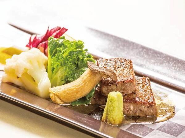 【料理グレードUP!特選牛ステーキ&金目鯛付プラン/例】特選牛ステーキをどうぞ!