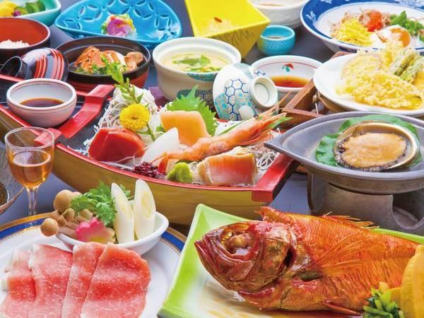 【活あわび・金目鯛・舟盛プランの夕食/例】3大味覚を満喫!