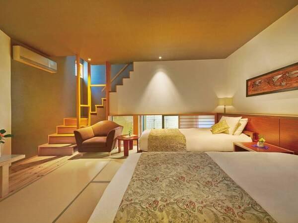 【和洋室(和モダン×メゾネット)/例】居間+寝室が上下に分かれるお部屋。天然温泉内風呂付き※客室内に階段有