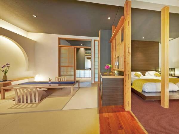 【和洋室(和モダン×二間続き)/例】居間+寝室のゆったりとした造り。天然温泉内風呂付き