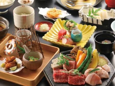 【夕食】 メイン料理を「肉料理」or「海鮮料理」より選択(肉料理/例)