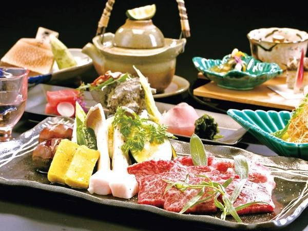 【夕食・肉料理】「お肉の溶岩焼き」をメインとした会席/例