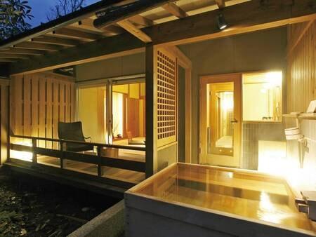 【客室露天風呂/例】庭園や竹林を望む源泉かけ流しの客室露天風呂
