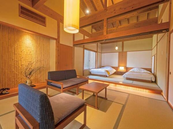 【離れ露天風呂付客室/例】6~10畳+寝室(6~10畳)+露天風呂(源泉かけ流し)