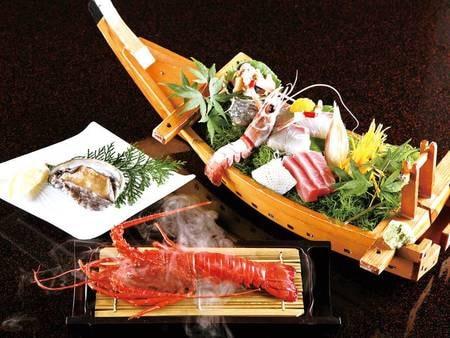 【選べるメイン、伊勢海老温泉蒸し、舟盛等/例】豪華食材を満喫