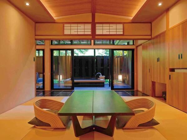 【2021年新装和洋室(温泉露天風呂付)/例】広い源泉かけ流し露天風呂付テラスと洋室(ツインベッド)+和室10畳