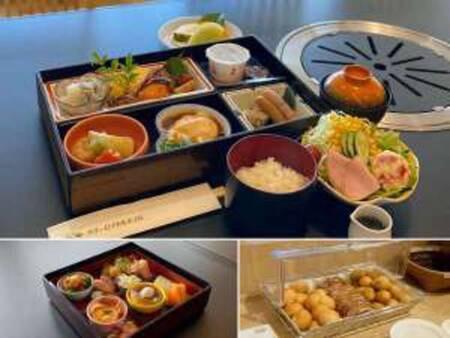 【朝食セットメニュー(上:大人、下左:お子様、下右:パンコーナー)/例】
